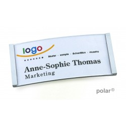 "Namensschild polar® 30 ""metal"" 70x30mm chrom hochglanz"
