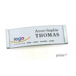 """Namensschild polar® 20 """"metal"""" 68x22mm edelstahl matt"""